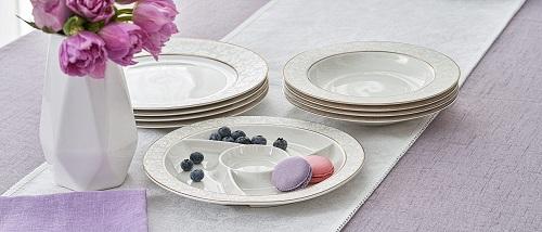 Набор тарелок для супа, вторых блюд и менажница